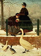 Feeding Birds Painting Framed Prints - Frozen Out Framed Print by George Dunlop Leslie