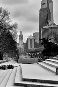 Frozen Digital Art Framed Prints - Frozen Philadelphia Framed Print by Bill Cannon