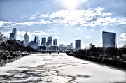 Frozen Digital Art Framed Prints - Frozen Philadelphia Cityscape Framed Print by Bill Cannon