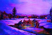 Hockey Painting Metal Prints - Frozen Pond Metal Print by Carole Spandau