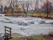 Landscapes Drawings Metal Prints - Frozen Pond Metal Print by Ylli Haruni