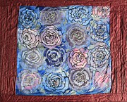 Botanical Tapestries - Textiles Prints - Frozen roses Print by Nora Padar
