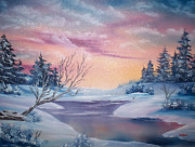 Snow-covered Landscape Painting Prints - Frozen Stream Print by Alfred Knoll