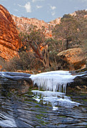 Snowy Mountain Loop Photos - Frozen Waterfall by Alan Socolik