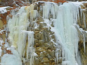 Bing Mixed Media - Frozen Waterfalls Right Below Natural Hot Springs - Scenic Winter by Photography Moments - Sandi