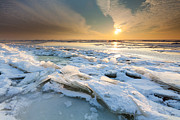 Drifting Snow Prints - Frozen waves Print by Ron Buist