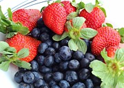 Tangy Photo Prints - Fruit 2- Strawberries - Blueberries Print by Barbara Griffin