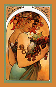 Grapes Art Digital Art Framed Prints - Fruit Framed Print by Alphonse Maria Mucha