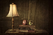 Wooden Table Framed Prints - Fruit and Books Framed Print by Erik Brede