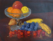 Terry Perham Art - Fruit And Glass by Terry Perham