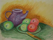 Tea Pot Drawings Prints - Fruit and Pot Print by Paul Morgan