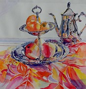 Silver Tea Pot Paintings - Fruit and Tea Island Style by Dodie Davis