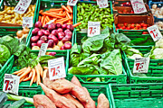 Local Food Metal Prints - Fruit and vegetable stall Metal Print by Tom Gowanlock