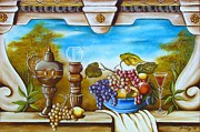 Fresco Framed Prints - Fruit and Vino Framed Print by Joseph Sonday