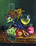 Glass Reflections Posters - Fruit and Wine Poster by Karon Melillo DeVega