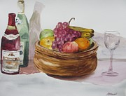 White Grape Painting Prints - Fruit And Wine Print by Martin Howard