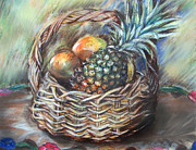 Mango Pastels Metal Prints - Fruit Basket Metal Print by Melanie Alcantara Correia