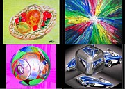 Artist Trading Cards Art - Fruit Basket White Hole Eye Delight C1 Cube Blue Corvette by Buddy Paul