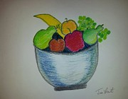 Food And Beverage Pastels - Fruit bowl by Jean Cornet