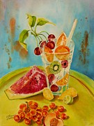 Summer Celeste Painting Posters - Fruit Coctail Poster by Summer Celeste