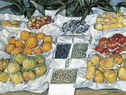 Fruit Stand Paintings - Fruit Displayed on a Stand by Gustave Caillebotte