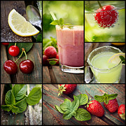 Strawberry Smoothie Metal Prints - Fruit drinks collage Metal Print by Mythja Photography