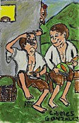 Seville Painting Prints - Fruit Eating Boys In Seville Print by Cibeles Gonzalez