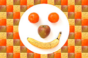 Kids Prints Framed Prints - Fruit Face Framed Print by Natalie Kinnear