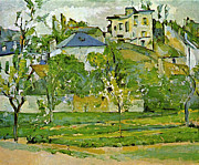 John Peter Posters - Fruit garden in Pontoise by Cezanne Poster by John Peter