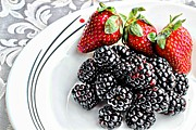 Tangy Posters - Fruit I - Strawberries - Blackberries Poster by Barbara Griffin