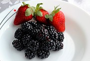 Fruit IIi - Strawberries - Blackberries Print by Barbara Griffin
