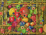 Bright Still Life Prints - Fruit in Bamboo Box Print by EB Watts