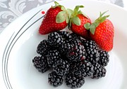 Tangy Photo Prints - Fruit iv - Strawberries - Blackberries Print by Barbara Griffin