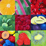 Kiwi Painting Originals - Fruit Medley by Toni Silber-Delerive
