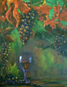 Wine Reflection Art Painting Metal Prints - Fruit of the Vine Metal Print by Sandra Cutrer