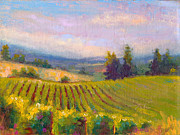 Farm Fields Paintings - Fruit of the Vine - Sokol Blosser Winery by Talya Johnson