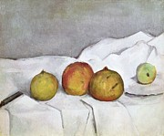 European Fruit Framed Prints - Fruit on a Cloth Framed Print by Paul Cezanne
