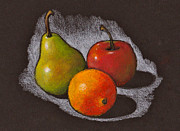 Trio Pastels Prints - Fruit on Black Print by Joyce Geleynse
