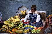 Street Markets Framed Prints - Fruit Seller Framed Print by James Brunker