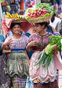 Central America Metal Prints - Fruit Sellers in Antigua Guatemala Metal Print by David Smith