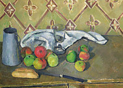 Nature Morte Posters - Fruit Serviette and Milk Jug Poster by Paul Cezanne