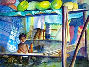 Samoan Paintings - Fruit Stand Samoa by Carlin Blahnik