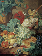 Peach Painting Posters - Fruit Still Life Poster by Jan Van Huysum