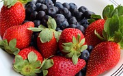 Tangy Photo Prints - Fruit - Strawberries - Blueberries Print by Barbara Griffin