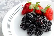 Fruit V - Strawberries - Blackberries Print by Barbara Griffin