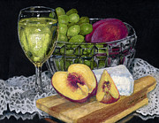 Peaches Pastels Posters - Fruit Wine and Cheese Poster by Flo Hayes