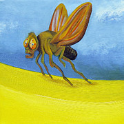 Close Up Painting Metal Prints - Fruitfly on Banana Landscape Metal Print by Laura Dozor
