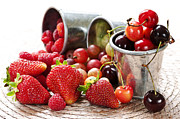 Pail Prints - Fruits and berries Print by Elena Elisseeva