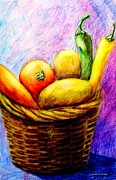 Wicker Baskets Prints - Fruits And Vegetables In Woven Basket Print by Annie Zeno