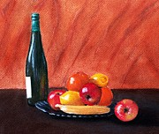 Malakhova Pastels Posters - Fruits and Wine Poster by Anastasiya Malakhova